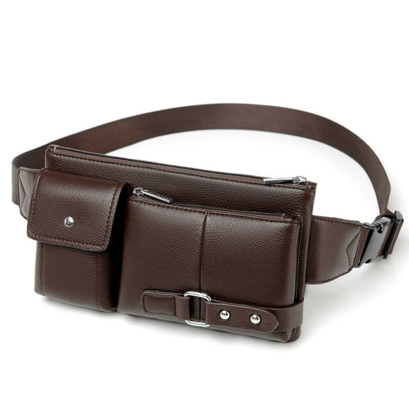 PU Leather Waist Bag Packs Fanny Pack Belt Bag Phone Pouch Bags Travel Waist Pack Male Small Waist Bag Leather Pouch For Male