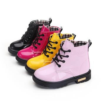 Nowe dziecięce buty buty rozmiar dziecięcy 21-37 Martin buty dla dziewczynki PU skórzane wodoodporne zimowe dziecięce buty śniegowce buty dziewczęce tanie i dobre opinie LLTTDD Unisex RUBBER CN (pochodzenie) 7-12m 13-24m 25-36m 3-6y 7-12y 12 + y Wszystkie pory roku Szycia Moda buty Mieszkanie z
