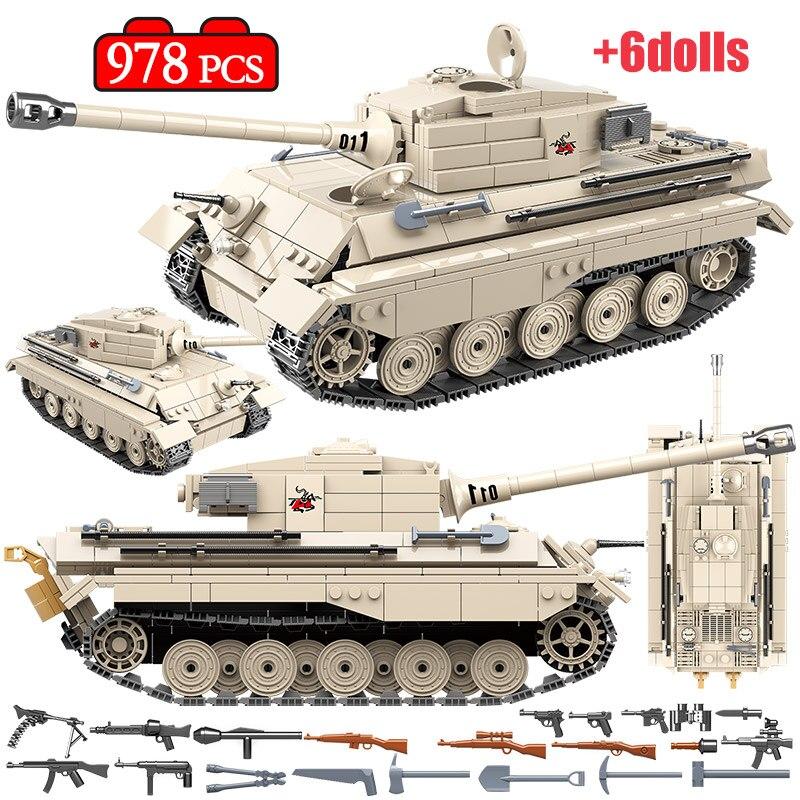 978 pcs alemao ww2 tigre rei tanque blocos de construcao tanque militar exercito soldado arma figuras