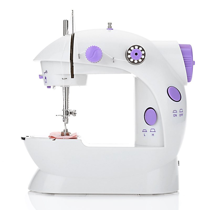 HLZS-Eu Plug Mini Electric Handheld Sewing Machine Dual Speed Adjustment With Light Foot AC220V Double Threads Pedal Sewing Mach