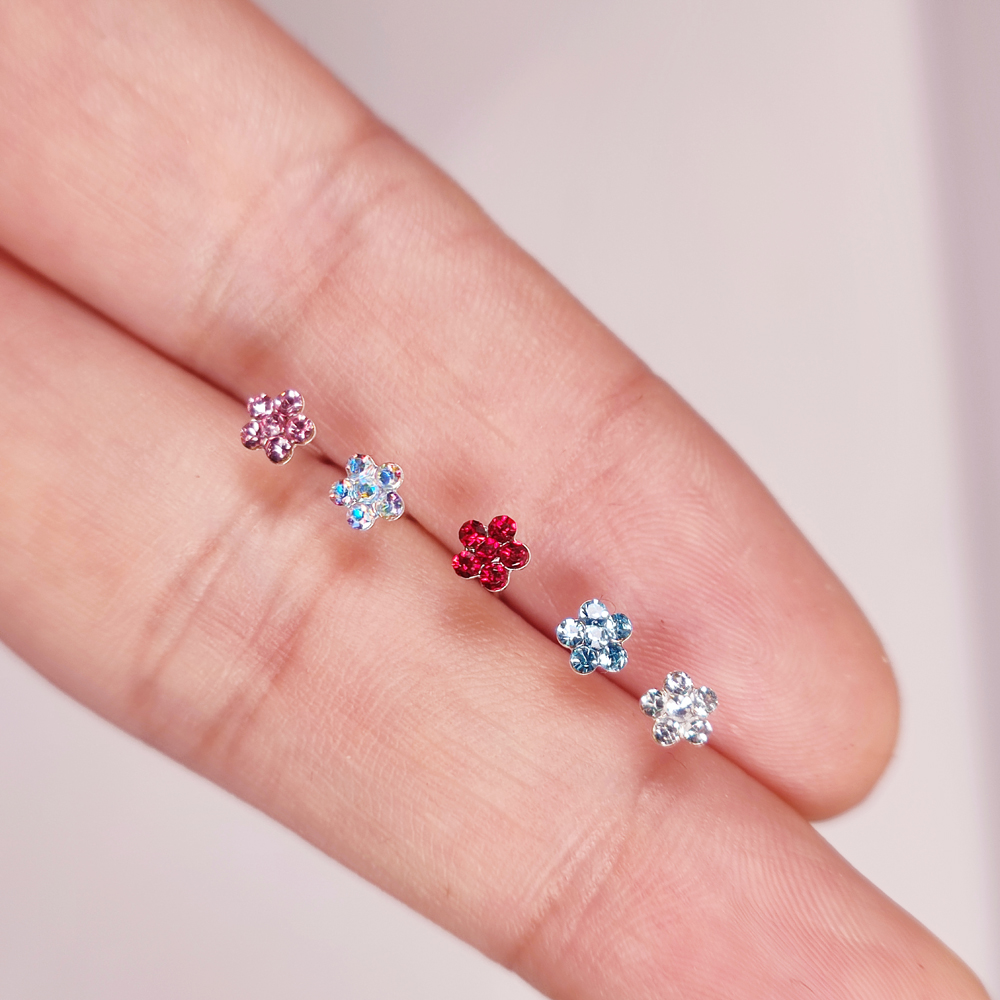 925 Sterling Silver Nose Piercing  Jewelry Nose Rings Nose Studs For Women Mix-color Crystal Flower Nose Pin Jewelry 20Pcs/Pack-2