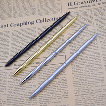 Slim Metal Ballpoint Pen 1 mm Black Ink Retro Gold Silver Ball Pen For Business Office School Writing Gifts Stationery unique black ink resin ballpoint pen classic design luxury pen gold silver clip office school writing stationery supplies gifts
