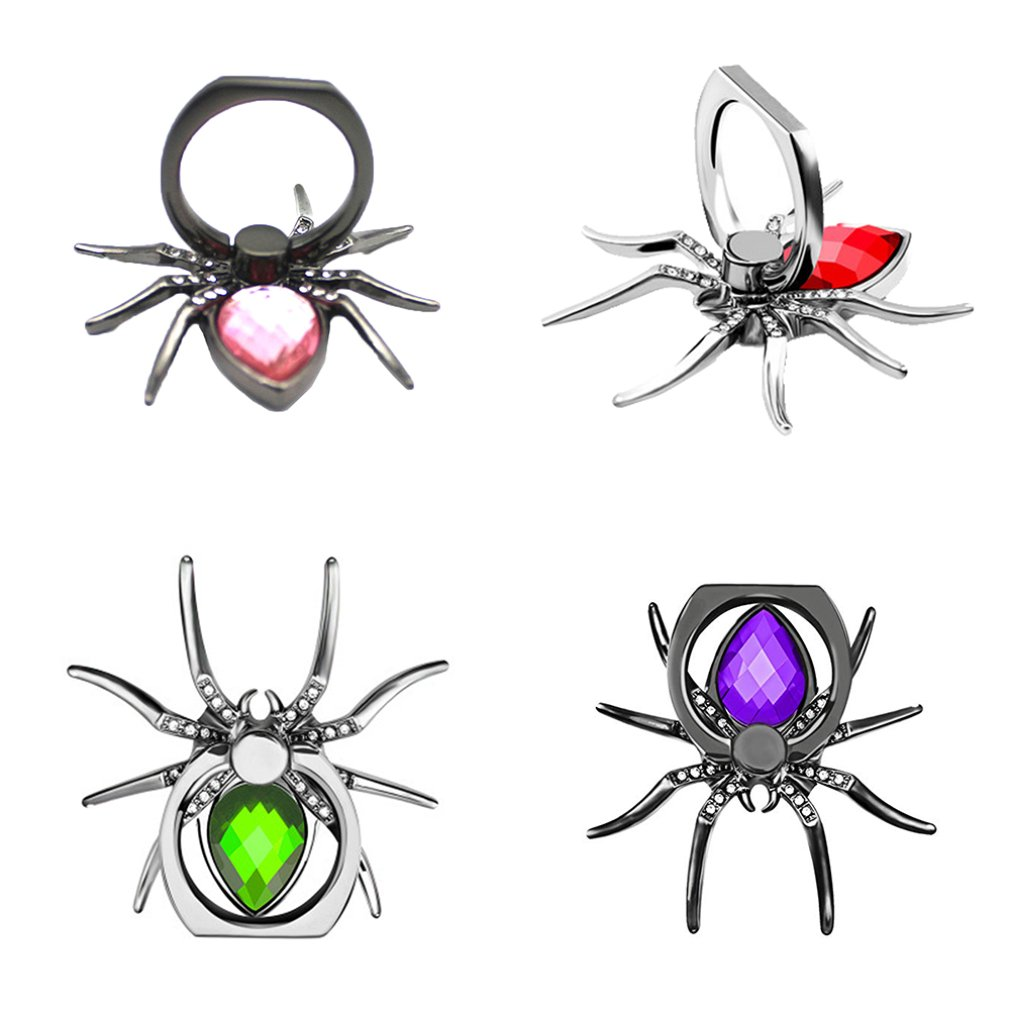 Universal Luxury Biling Diamond Metal Spider Mobile Phone Finger Ring Holder 360 Rotate Stand For IPhone Sumsang Huawei Xiaomi