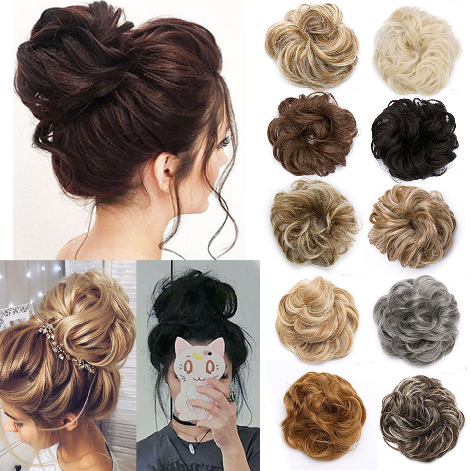 S-noilite Women Synthetic Hair Chignon Donut Black Brown Elastic Band Hair Bun Chignon Rubber Band Updo Hair For Women