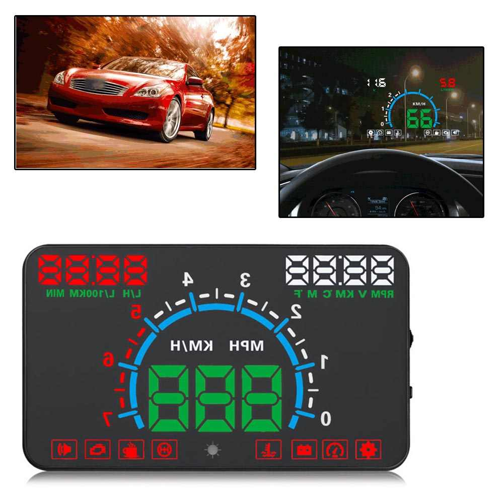 "5.8"" E350 Car GPS OBD2 Head Up Display HUD Speedometer Speed Warning Dashboard"