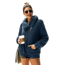 Women Fleece Thicken Oversized Knitted  Scarf Collar Neck Faux Fur Casual Pullovers Christmas Knit  Jumper