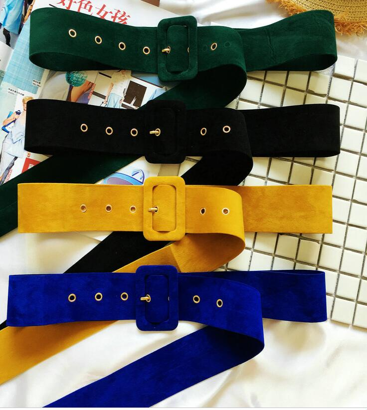 Women's Runway Fashion Velvet Pleuche Cummerbunds Female Dress Coat Corsets Waistband Belts Decoration Wide Belt R1747