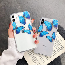 Transparent Cute Butterfly Phone Case For iPhone 11 Pro Max X XS MAX XR Soft TPU Clear Case For iPhone 6 6s 7 8 Plus Back Cover 2019 simple transparent art window case for iphone x xs max xr 6 6s plus tpu soft cover for iphone 7 8 plus x case back