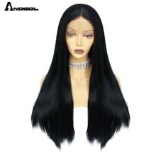 ANOGOL peluca larga de color negro liso para mujer, peluca sintética de malla con división media Natural, de fibra resistente al calor, para uso diario