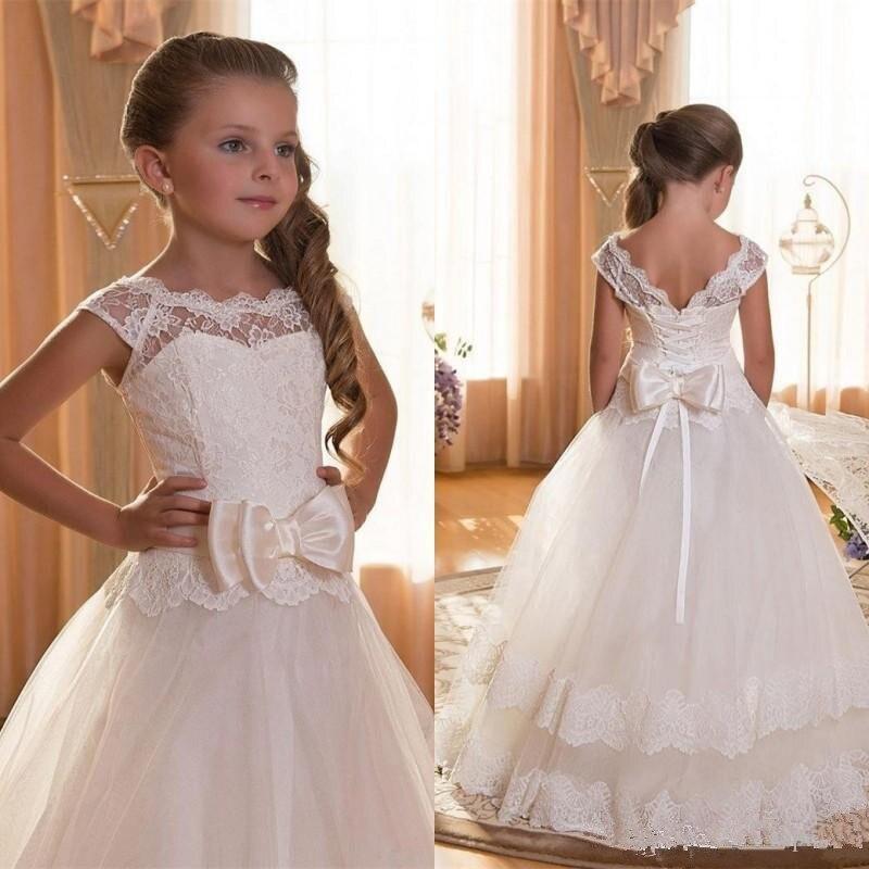 初聖体のドレススクープバックレスアップリケフラワーガールズドレス弓チュール夜会服のページェントドレス