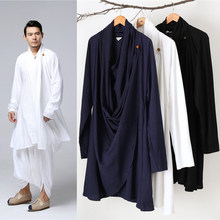 Losse Stijl Plus Size Mannen Chinese Traditionele Kostuums Taichi Uniform Ademend V-hals Kung Fu Tang Pak Mannelijke Linnen Gown(China)