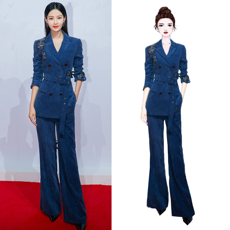 Women's Suit 2 Piece Set Star, Blue Double-breasted Embroidered Slim Suit Suit Jacket Trousers Wedding Party Set