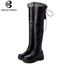 BONJOMARISA Hot Sale 33-43 Brand Retro Knee High Boots Women 2019 Winter Add Fur Platform Ladies 5 Cm Heels Shoes Woman