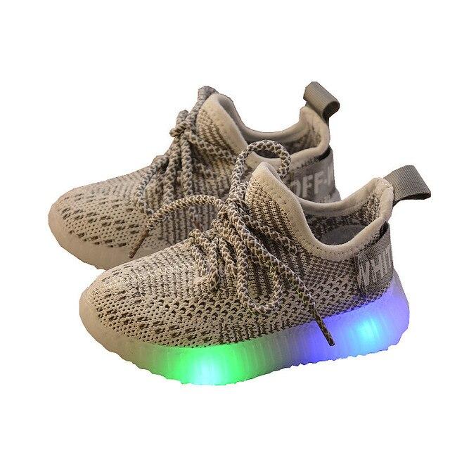 مصباح ليد أحذية أطفال الأطفال الفتيات الرياضة عادية مضيئة أحذية رياضية للطفل الفتيان مضيئة شبكة الهواء الحياكة طالب