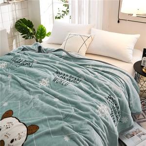 Image 5 - Papa&Mima Thin Throws Blanket Fleece Plaids Multisize Bedsheet Multifunctional Bedspread