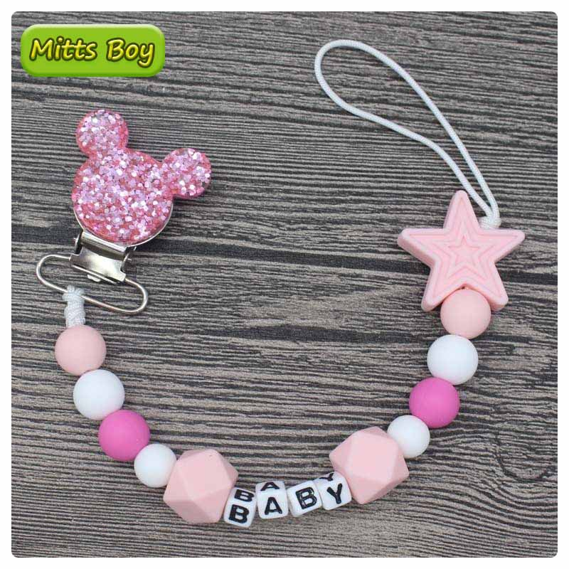 New DIY Personalised Name Silicone Baby Pacifier Clip Chain Nipple Pacifier Chain with Mouse Holder for Baby Newborn Shower Gift