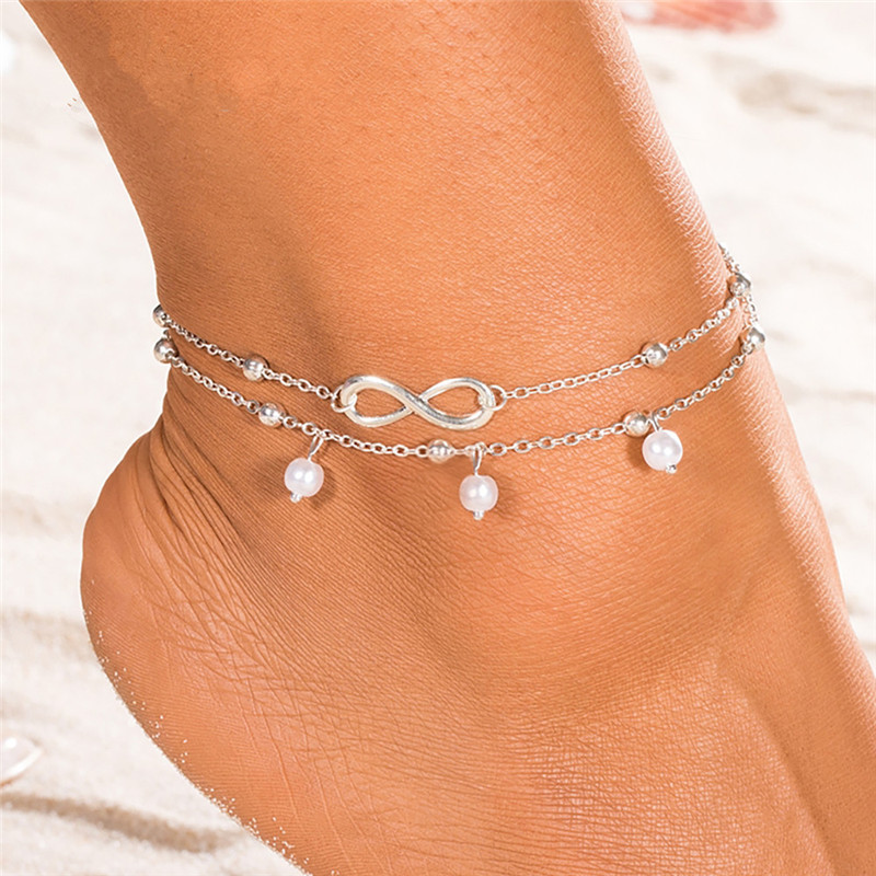 Modyle 2020 New Hot 1PC Hot Summer Beach Ankle Infinite Foot Jewelry Anklets ankle bracelets for women