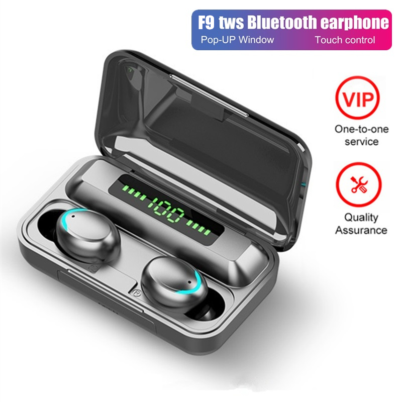 F9 TWS Bluetooth Headphones Wireless Earphone Mini Binaural Earbuds Headset Case For Iphone Xiaomi Redmi Samsung 9D Stereo Sound