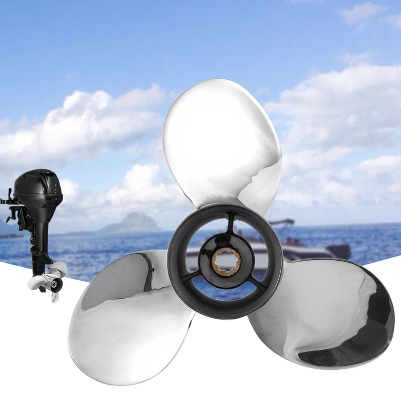 Boat Motor Stainless Steel Propeller 9 1/4X11 J for Yamaha 9.9Hp 15Hp Outboard Engine 9 1/4 X 11  J 63V 45943 10 00 63V 45943 00|Marine Propeller| |  -