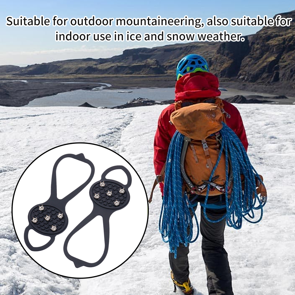 1pair Spikes Safety Shoes Footwear Outdoor Climbing Crampon Traction Cleat Universal Hiking Anti Slip 5 Teeth Ice Gripper