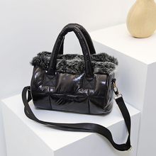 Down bag 2020 winter new womens bag space cotton bag rabbit fur fur bag shoulder Messenger bag luxury women designer handbags