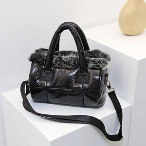 Image 1 - Para baixo saco de inverno 2020 nova bolsa feminina espaço algodão saco de pele de coelho bolsa de ombro mensageiro saco de luxo bolsas de grife