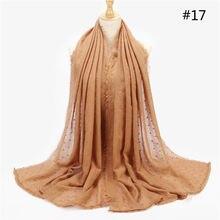 2020 мусульманский женский хлопковый хиджаб шарф однотонный