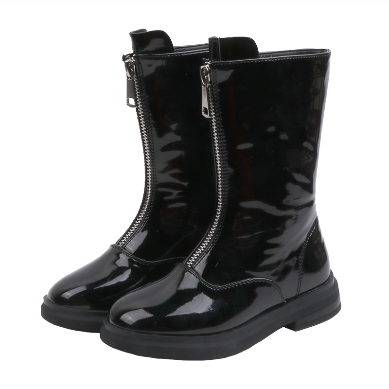 Kids Shoes For Girls Patent Leather Boots Fashionable Children Knee-high Booties Winter Autumn Princess Shoes SX306