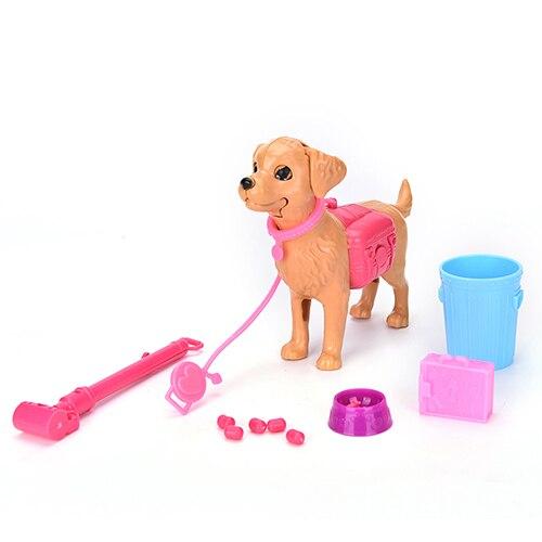 1:6 Plastic Big Gray Wolf Dog Bowl Feed Bone Toy Set Princess Barbies Doll Gift Furniture Children Toys Princess Accessories
