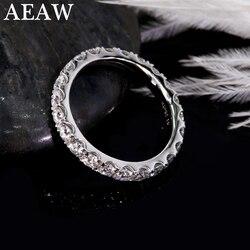 AEAW-bracelet de mariage Moissanite, or blanc 14K, 2mm, cadeau pour femmes, motif de mariage empilable, or blanc, 2mm