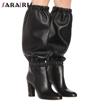 SARAIRIS New Autumn Plus Size 35-48 Brand Designer Knee High Boots Women 2019 Runway Show Chunky Heels Shoes Woman