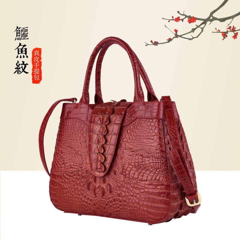 Top Quality Genuine Leather Messenger Bag Shoulder Top Handle Bags Crocodile Pattern Women Cowhide Cross Body Tote Handbag