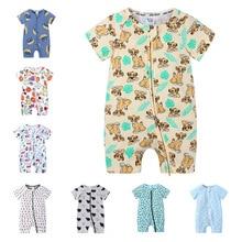 Short-Sleeve Baby Rompers Animal Dinosaur Print Baby Boy Clothes Jumpsuit Summer Onesie Infant Baby Girls Newborn Clothings