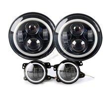 цены free ship 40W 7inch headlight fog lamp set round offroad headlamp hi low H4 H13 car parts Wrangler TJ CJ 4x4 truck