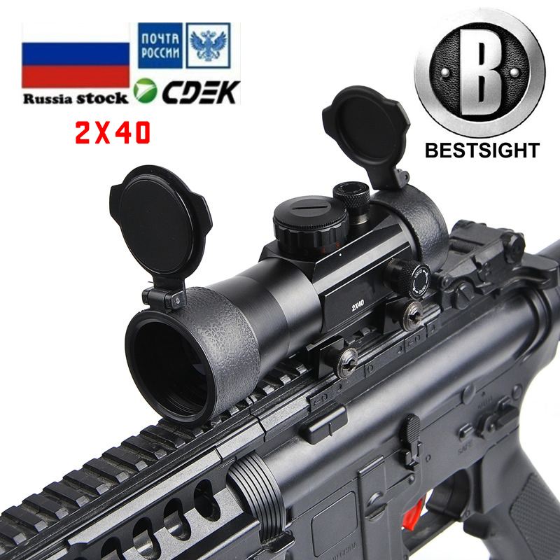 B BESTSIGHT 2x40 Holographic Sight Tactical Green Red Dot Sight Scope Riflescope Hunting Scopes Fit 11/20mm Rail Mount
