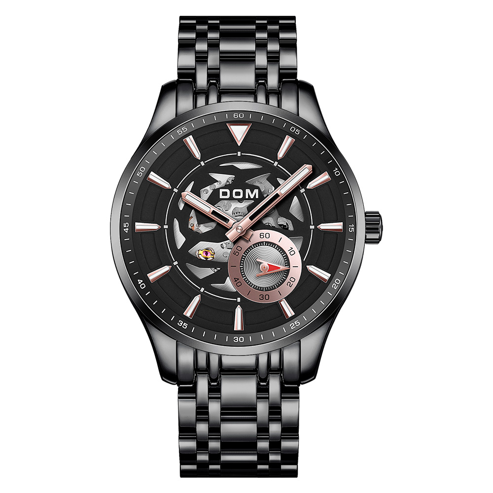 New Fashion Men Mechanical Watch Skeleton Design Top Brand Luxury Waterproof Gentleman Automatic Clock Montre M-1308