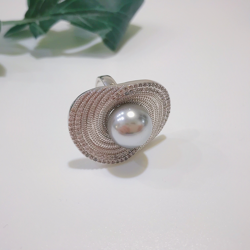 DreamCarnival 1989 New Version Handmade Jewelry Amazing Price Cocktail Party Wedding Synthetic Grey Pearl Women Ring SJ12291R1 5