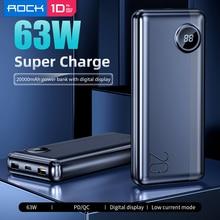 ROCK 20000mAh Power Bank with LED Digital Display 63W PD QC3