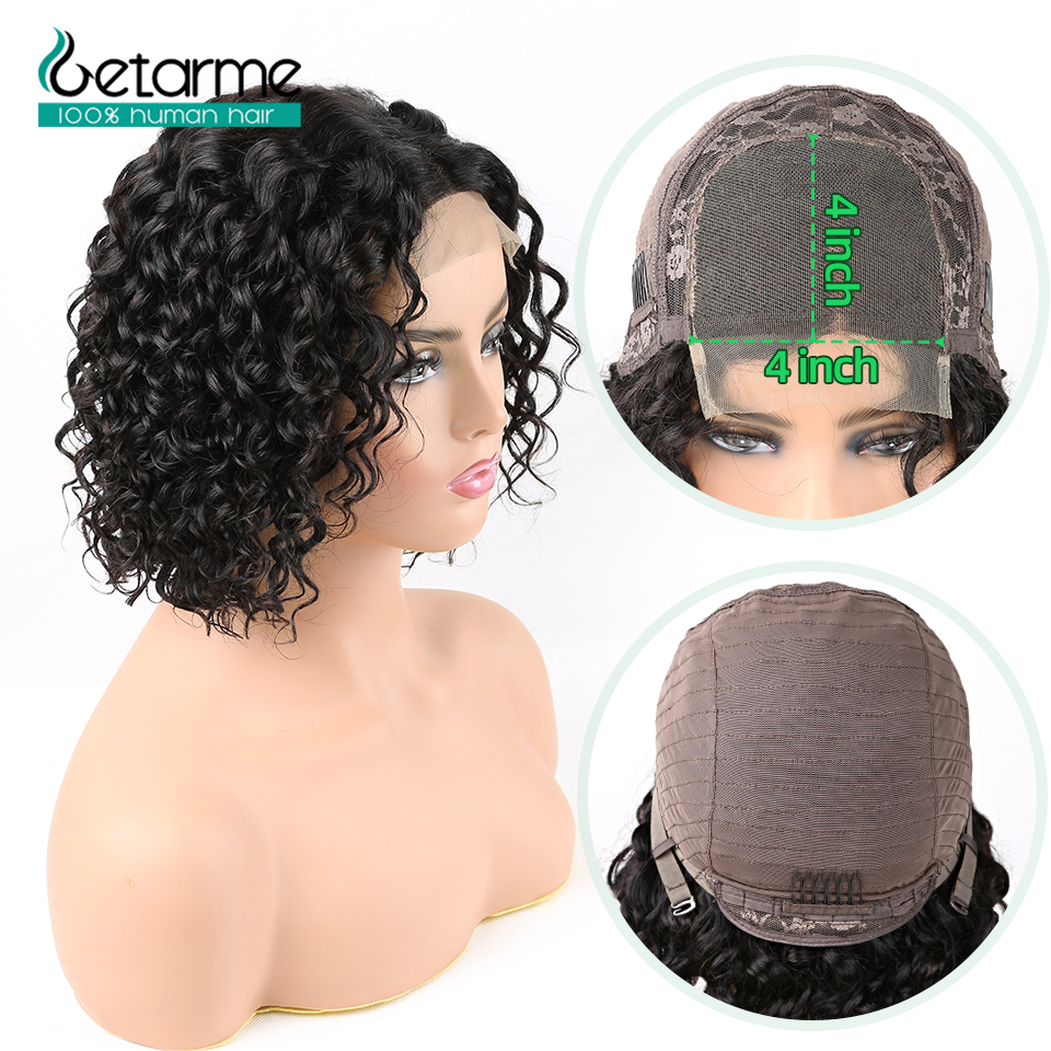 Getarme Short Bob Wigs Pre Plucked With Baby Hair 4x4 Lace Closure Water Wave Human Hair Wigs 130% Non Remy Brazilian Hair Wigs