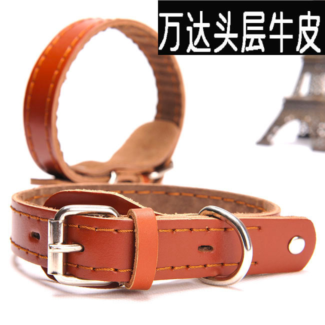 Genuine Leather Sewing Dog Collar Cattle Hide Pet Traction Dog Collar