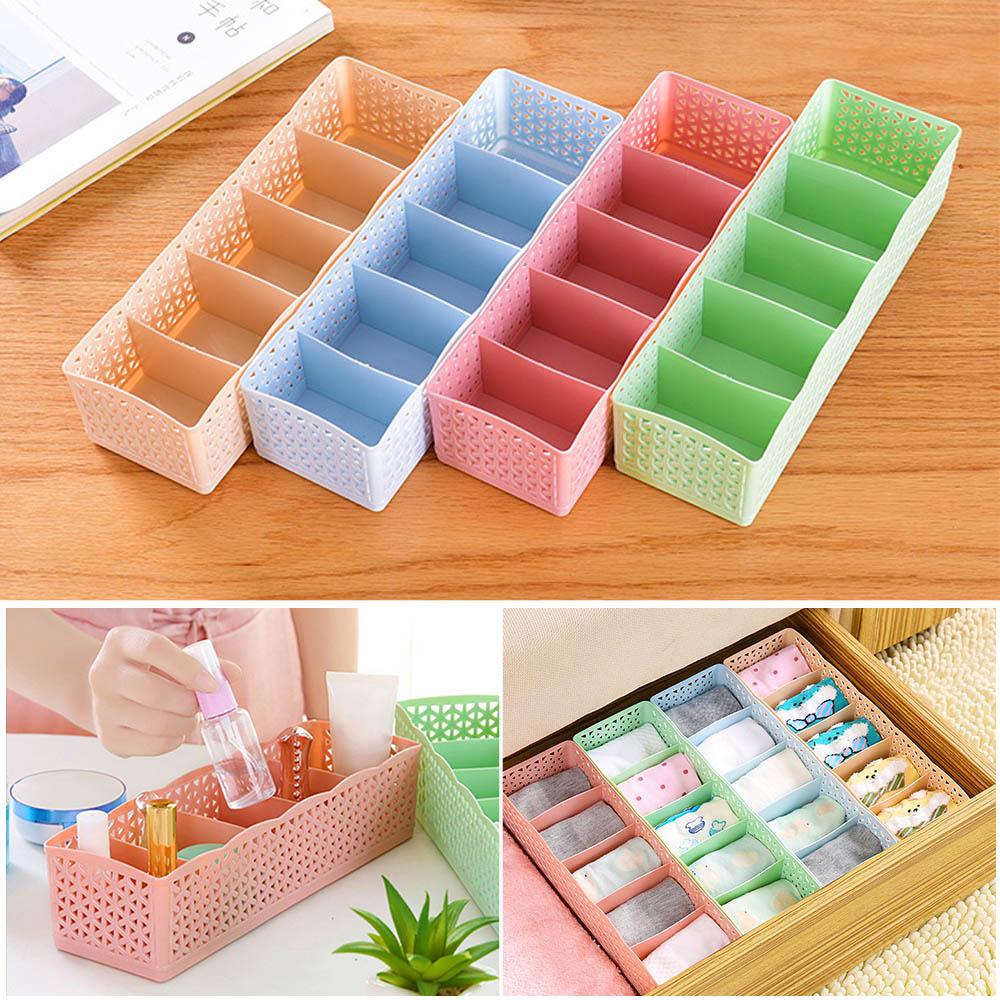 Storage Box 5-grids Multi-function Plastic Drawer Organizer Tie Bra Socks Drawer Cosmetic Divider