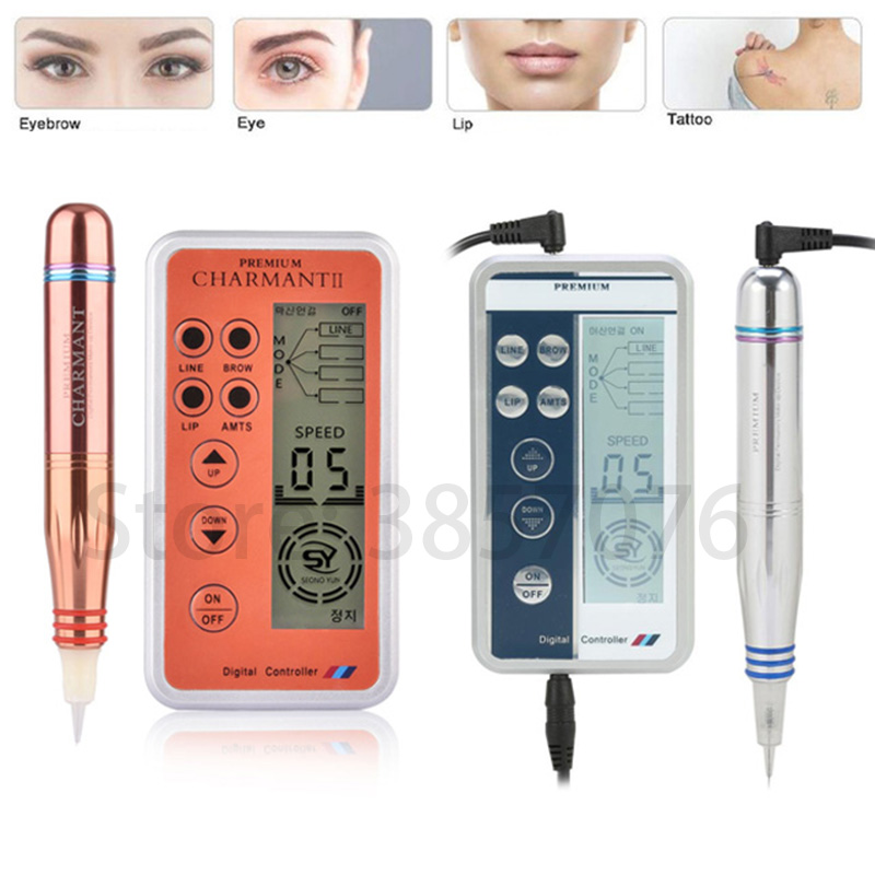 Charme Princesse Permanent Makeup Pen Digital Premium Machine , Intelligent Control Panel, Spiral Interface Cartridge Power Set