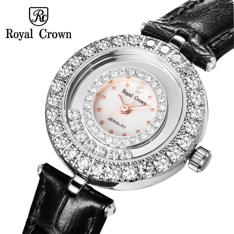 Moving Crystal Luxury Small Clock Lady Women's Watch Fashion Hours Bracelet Rhinestone Girl's Birthday Gift Royal Crown Box