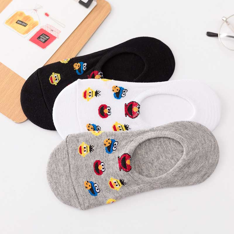 New Leisure Shallow Mouth Short Sock Cartoon Anime Pattern Breathable Comfortable Women Short Sock Chaussettes
