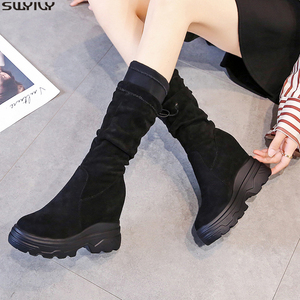 Image 1 - SWYIVY Chaussure Femme Mid Calf Wedge Shoes Woman 2019 Slim Womens Winter Shoes Slip On Platform Boots Ladies Flock Woman Boots
