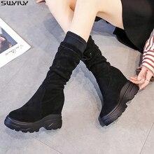 SWYIVY zapatos de cuña media pantorrilla para mujer, zapatillas de invierno ajustadas con plataforma sin cordones, aterciopeladas, 2019