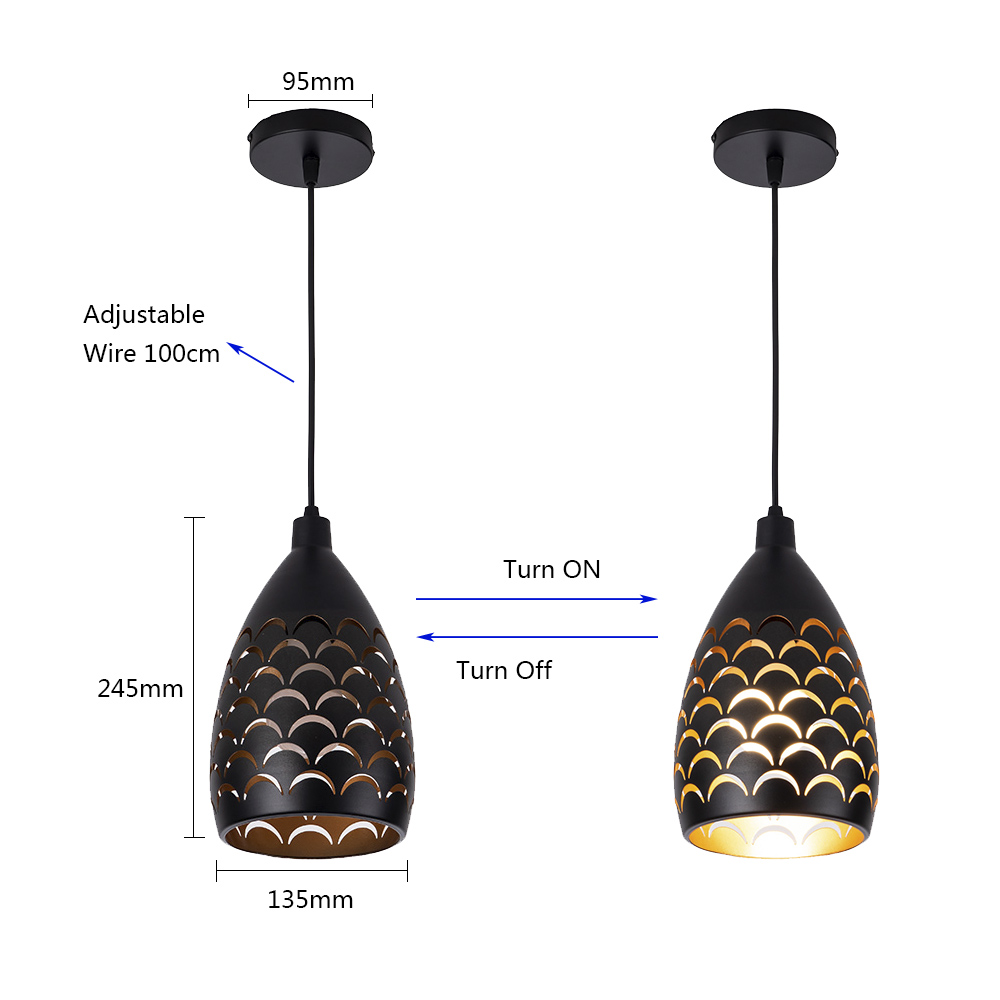 Image 2 - Scaly hollow style iron ceiling droplight led ceilight light cord pendant lamps for living room restaurant stairway lightingCeiling Lights   -