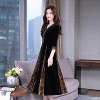 New Vintage Women Long dress Patchwork Print French Velvet Dresses Black Coffee Color 957