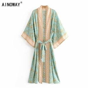 Image 1 - Đầm sang trọng nữ xanh in hoa tay cánh dơi Rayon bãi biển Bohemia Áo choàng kimono Nữ cổ V tất Boho Đầm vestidos