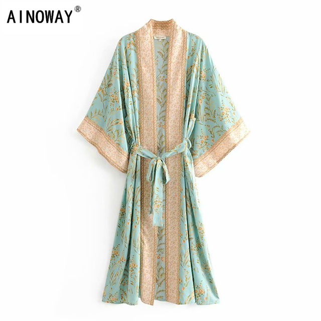 Đầm sang trọng nữ xanh in hoa tay cánh dơi Rayon bãi biển Bohemia Áo choàng kimono Nữ cổ V tất Boho Đầm vestidos